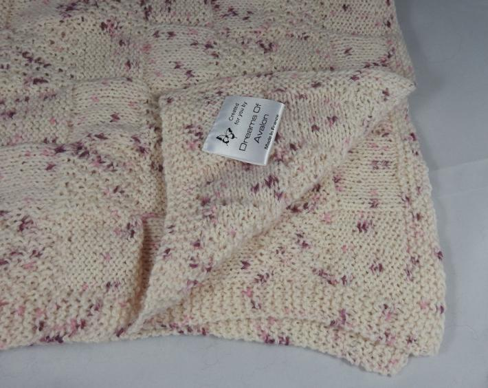 Hand Knitted Pink Random Coloured Patterned Baby Blanket  FREE SHIPPING