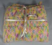 Hand Knitted Multicoloured Patterned Baby Blanket   FREE SHIPPING