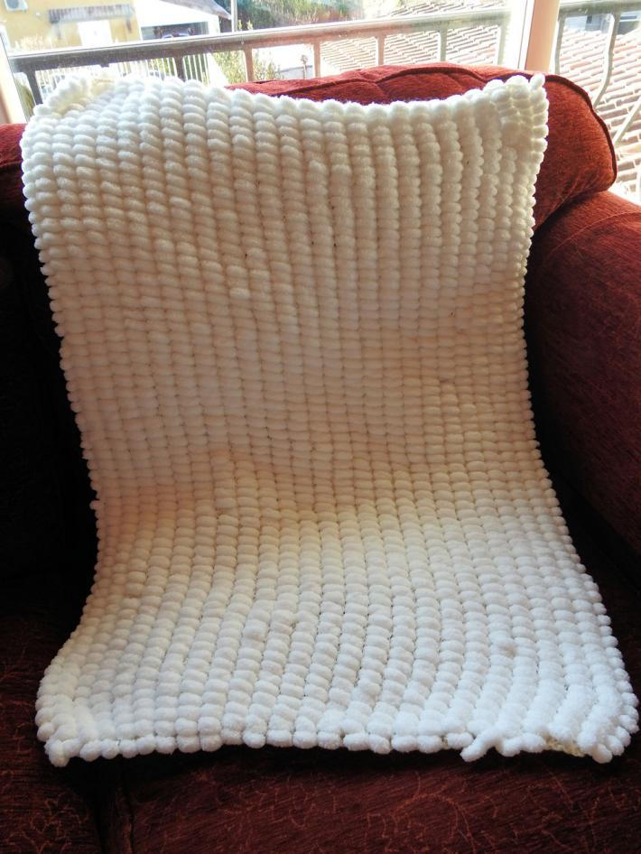 Hand Knitted White Pompom Style Baby Blanket   FREE SHIPPING