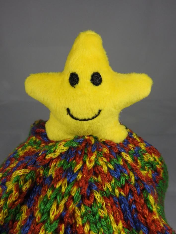 Knitted Childs Multicoloured Yellow Star Winter Hat  FREE SHIPPING