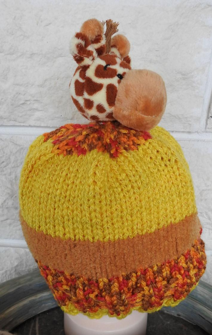 Knitted Childs Random Coloured Giraffe Winter Hat  FREE SHIPPING