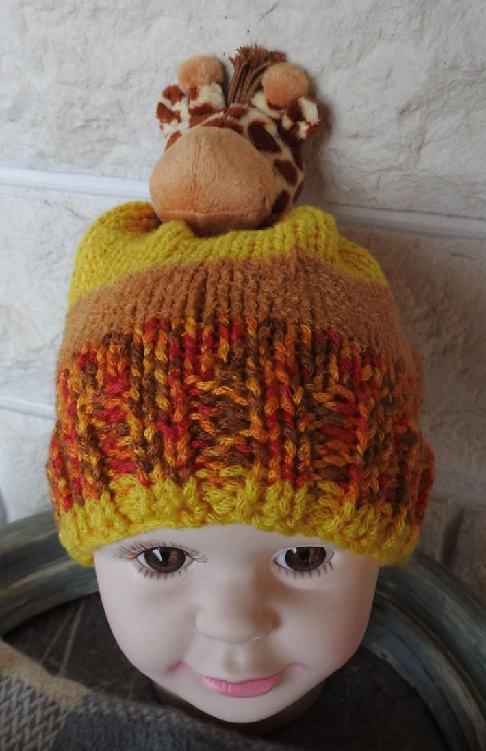 Knitted Small Childs Winter Random Coloured Giraffe Hat   FREE SHIPPING