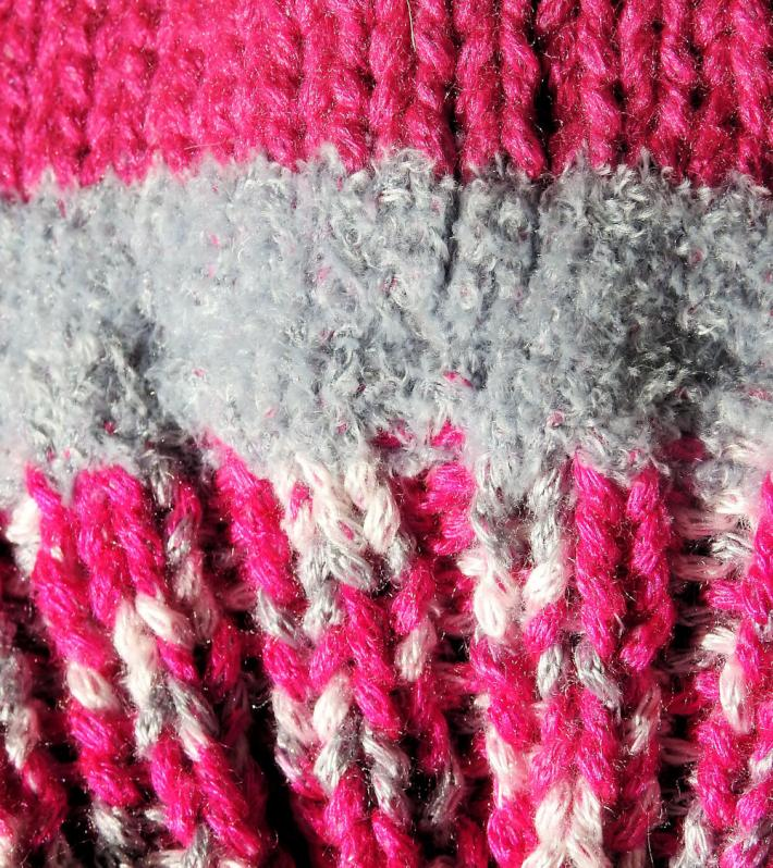 Childs Pink And Grey Random Coloured Knitted Cat Hat   FREE SHIPPING