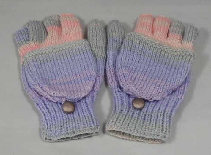 Knitted Random Pink Purple And Grey Womens Convertible Gloves Free Shipping
