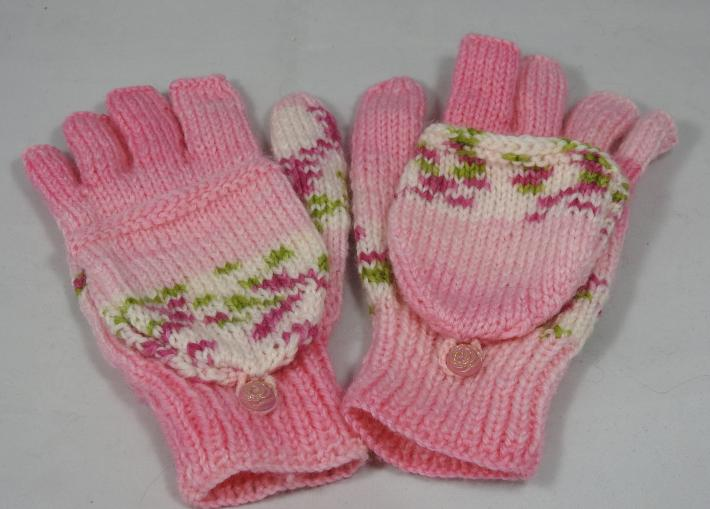 Knitted Pink With Bands Of Pink And Green On A White Background Convertible Gloves FREE SHIPPING