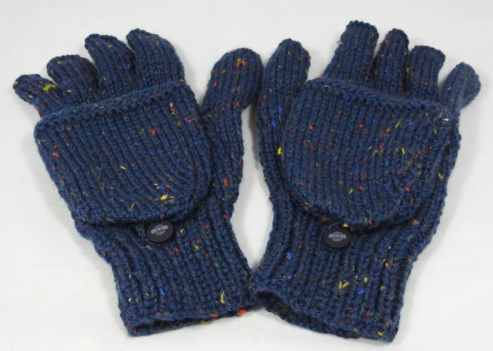 Knitted Dark Blue With Flecks Of Colour Convertible Gloves  FREE SHIPPING