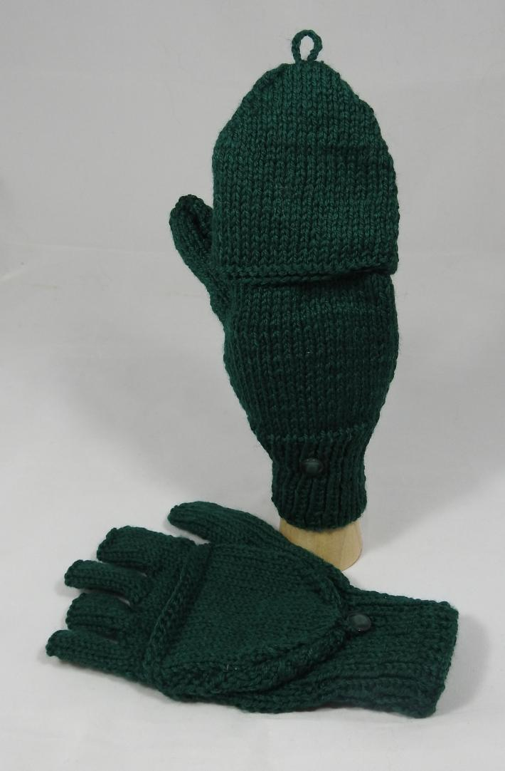Knitted Emerald Green Plain Convertible Gloves  Free Shipping