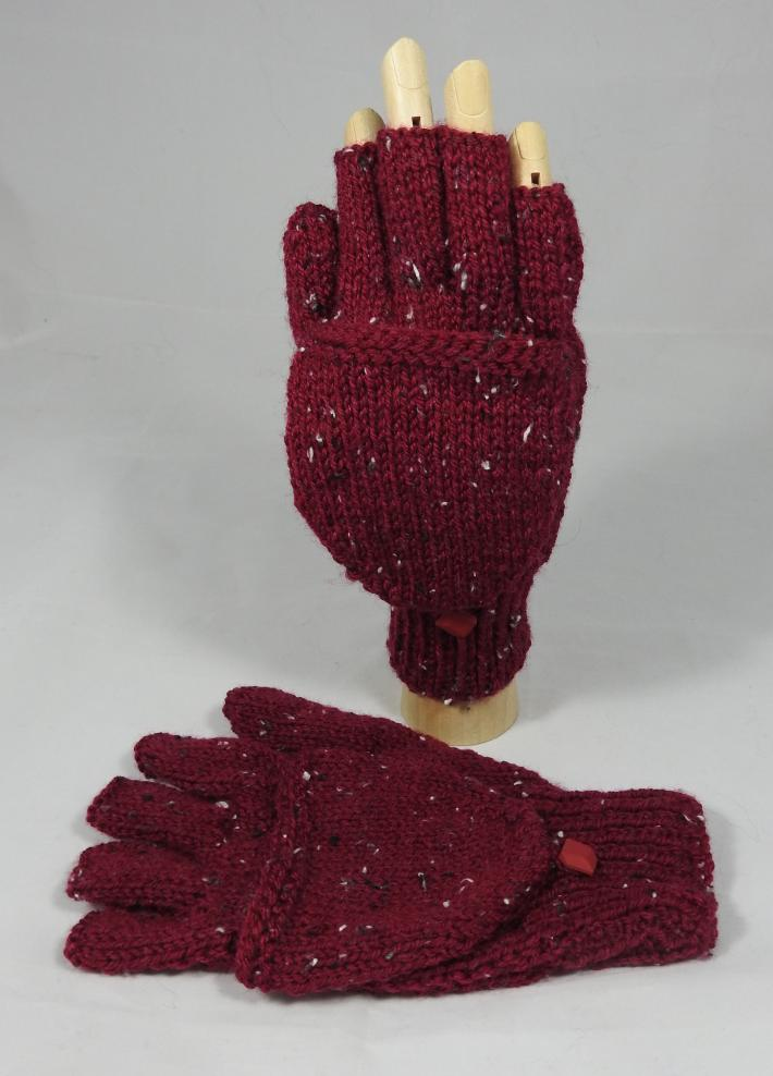 Knitted Dark Red Womens Convertible Gloves  FREE SHIPPING