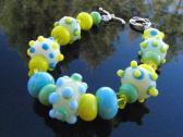 Lampwork Glass Bead Bracelet Handcrafted Wearable Art  Handmade Jewelry