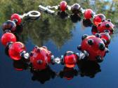 Lampwork  Bead Bracelet Handmade Glass Wearable Art Jewelry SRA SRAJD