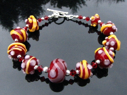 Lampwork Glass Bracelet Handmade Beads Handcrafted Wearable Art Jewelry SRA and SRAJD