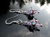 Lampwork Glass Earrings Handmade Beads Swarovski Crystals Sterling Silver Wearable Art Jewelry