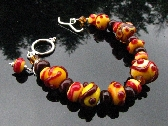 Lampwork Bracelet Handmade Glass Beads Handcrafted Wearable Art Jewelry