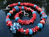 Lampwork Bead Necklace Handmade Glass Handcrafted Wearable Art Jewelry SRA and SRAJD