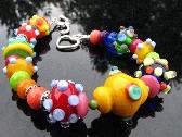 Lampwork Bead Bracelet Handmade Colorful Beads Handcrafted Glass Wearable Art Jewelry SRA SRAJD