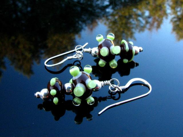 Lampwork Earrings Handmade Glass Beads Handcrafted Wearable Art Jewelry SRA SRAJD