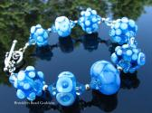 Aqua Lampwork Glass Bead Bracelet Handmade Artisan Beads Handcrafted Wearable Art SRAJD Jewelry