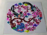 Handcut papercut  Art Best valentine day gift  Magpie couples in cherry flowers