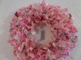 8 inch Shabby Chic Breast Cancer Awareness Mini Rag Wreath Wall Decor