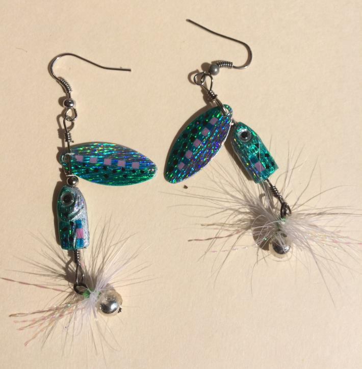 Fishing Lure Dangle Earrings with Colored Crystals