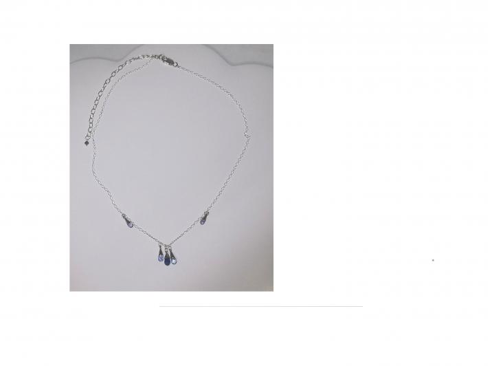Natural Tanzanite Full Briolette Necklace in Solid Sterling Silver