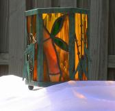 Lantern Candle Holder Bamboo stained glass