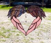 Angel wings heart stained glass crystal