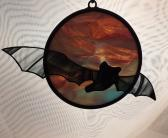Bat Flying Over Moon stained glass