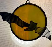 Bat Flying Over Yellow Green Moon Stained Glass