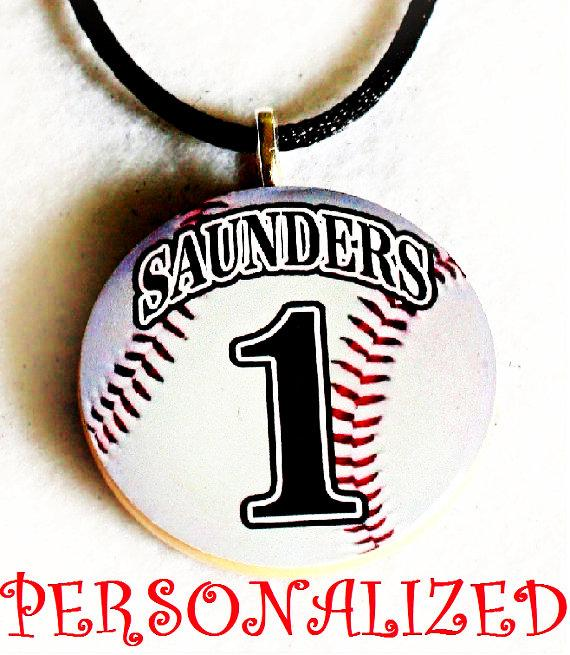 Personalized Baseball Necklace Sports Pendant Players Moms Team Gifts