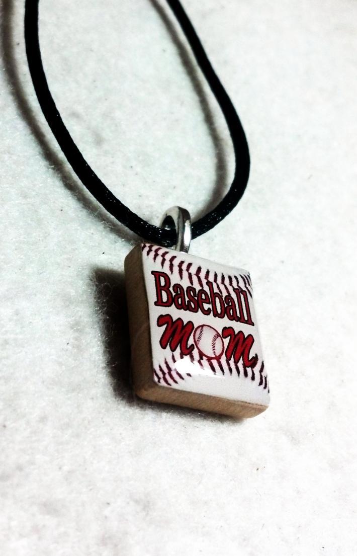 Baseball Mom Scrabble Tile Pendant Necklace