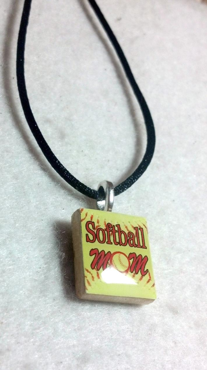 Softball Mom Scrabble Tile Pendant Necklace