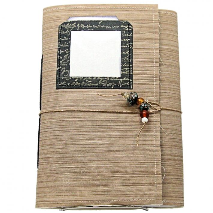 Monthly Journal Organized with Pockets and Blank Pages Brown Cover Beaded Elastic Attached Closure