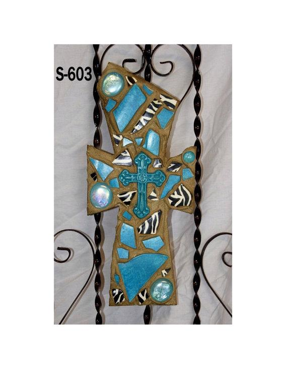 Mosaic Wall Cross S 603 Zebra and Turquoise