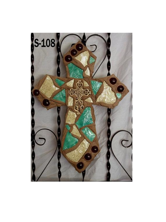 Mosaic Wall Cross S108 Sage Green and Ivory
