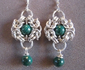 Maiden Faire Sterling Silver and Malachite Earrings