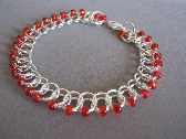 Phoenix Red Czech Glass Beaded Bracelet