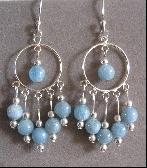 Aquamarine and Sterling Silver Hoop Earrings