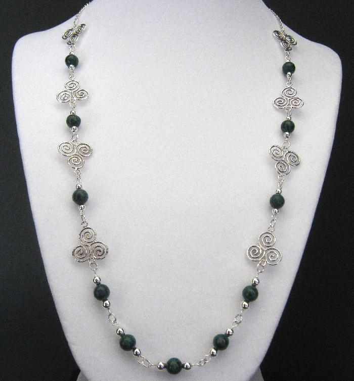 Moors Malachite Azurite and Sterling Silver Necklace Set
