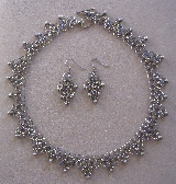 Monochromatic Gunmetal and Silver Glass Bead Necklace Set