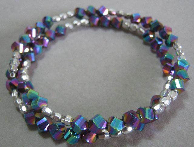 Rainbow Memory Wire Wrap Bracelet