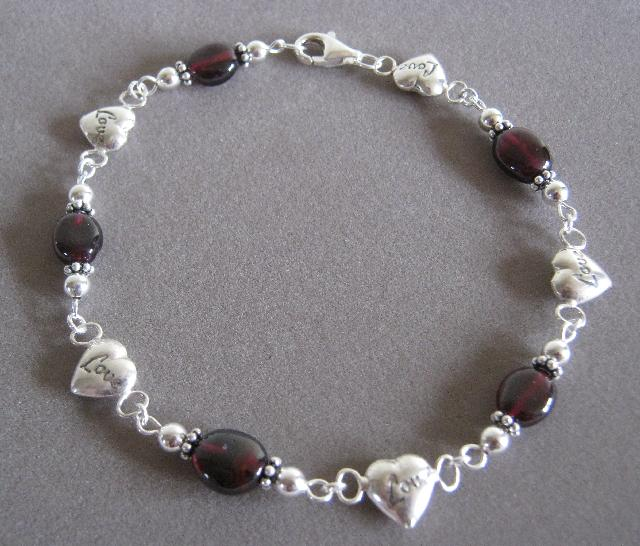 Love Chain Genuine Garnet and Sterling Silver Set