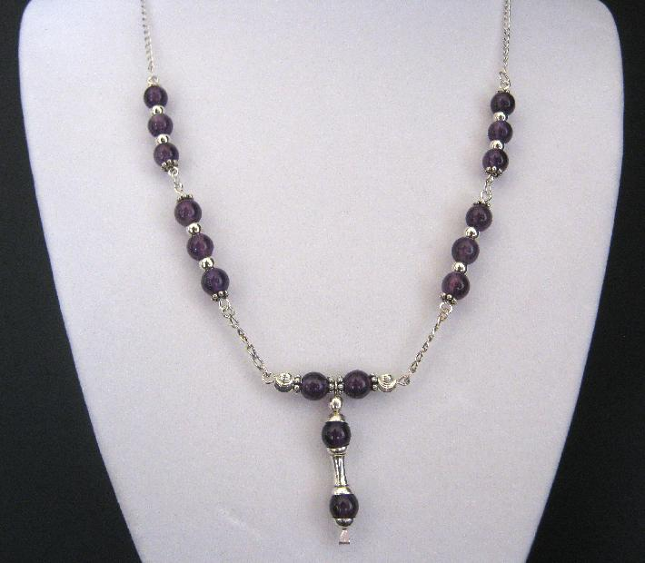 Diana Sterling Silver and Genuine Amethyst Necklace