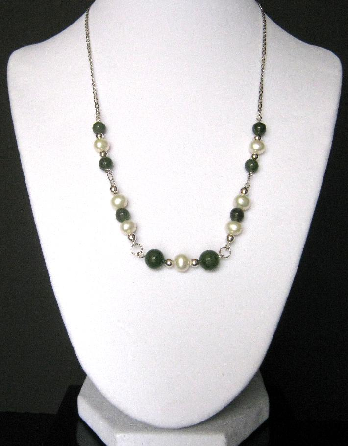 Orient Express Genuine Jade and Freshwater Pearls Necklace