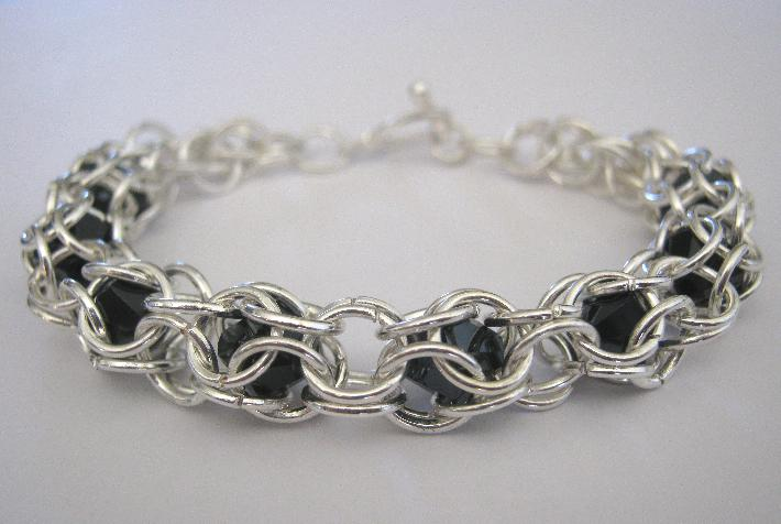 Peek A Boo Bracelet Silver Plate and Glass Bead Chainmaille