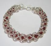 Chainmaille Peek A Boo Red Glass Bead Bracelet