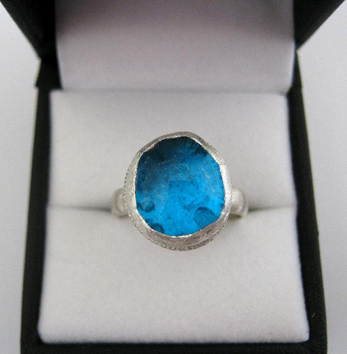 Big Blue Marble Upcycled Sterling Silver Ring