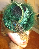 GREEN MARIBOU HAT FOR 16 TO 18 DOLL