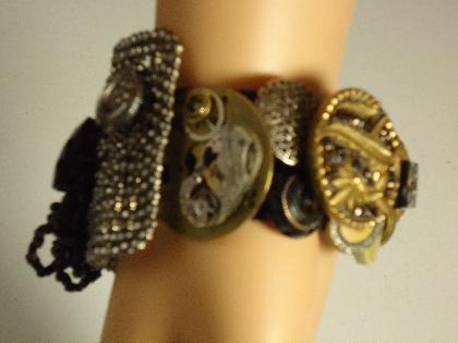 Embellished Victorian Cuff Vintage Assemblage Bracelet