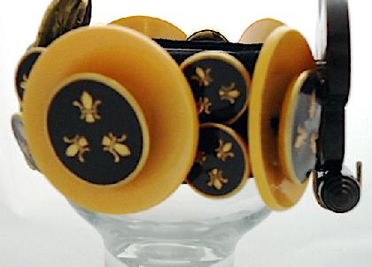 Edgy Fleur de Lys Vintage Bakelite and Enamel Button Bracelet